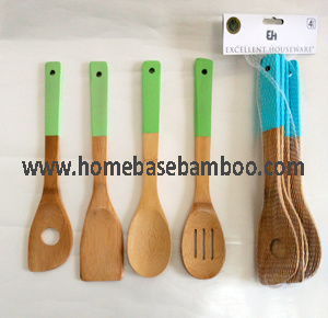 Bamboo Utensil Tools Salad Serving Set Colorful pictures & photos
