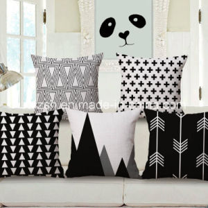 Nordic Ikea Geometric Black and White Cotton and Linen Pillow Cover pictures & photos