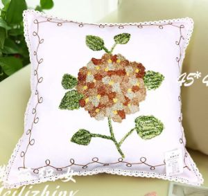 Cotton Canvas Wool Embroidery Decoration Cushion Cover Pillow Case Flower Design Pastorale Style with Ribbon pictures & photos