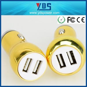 Golden Metal Dual USB Car Charger with 2.4AMP pictures & photos