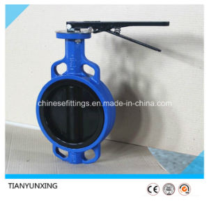 Cast Iron Body PTFE Lined Disc Wafer Butterfly Valves pictures & photos