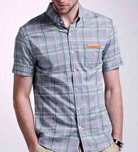 Men′s Pure Cotton Casual Short Sleeve Check Shirt