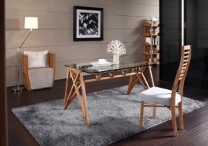 Home Furniture Bamboo Glass Dinner Table pictures & photos