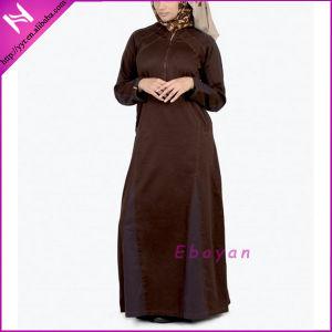 Traditional Brown Kaftan Style Zipped Abaya