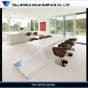 High Quality Acrylic Solid Surface White Dining Table Design for Home/Office/Restaurant pictures & photos