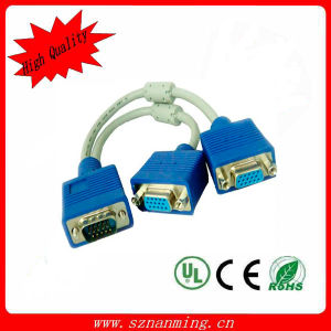 2 in 1 VGA-DVI Male Connector Cable (NM-VGA-1308) pictures & photos