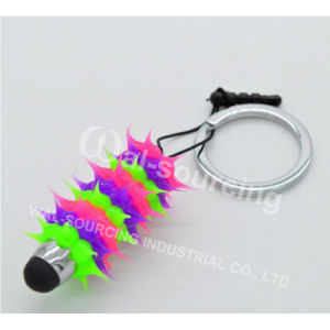 Spiky Stylus Ballpoint Pen with Keyring and Dust Plug
