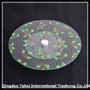 Round Tempered Glass Plate with Screen Printing Pattern pictures & photos