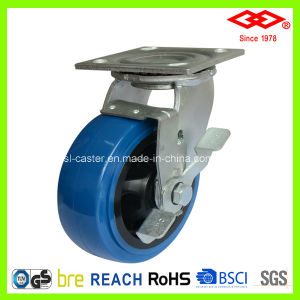 100mm PU Wheel Swivel Side Brake Caster Wheel (P701-36FA100X50Z) pictures & photos