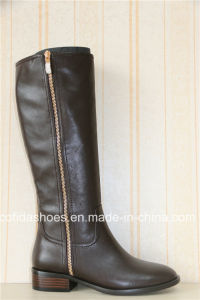 Fashion Casual Flat Lady Leather Boots for Sexy Women pictures & photos