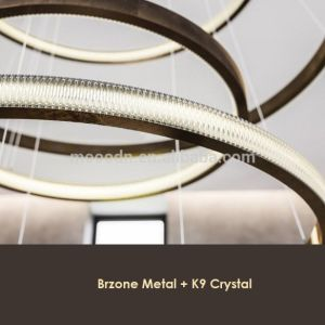New Design Modern Large Copper Round Ring K9 Crystal Chandelier for Luxury Lighting pictures & photos