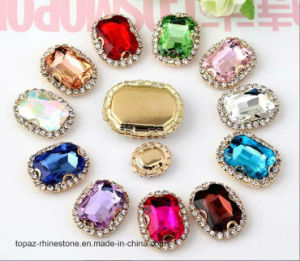 Rhinestone Embellishment Factory Golden Frame Claw Setting Crystal Glass Stone (SW-Rectangle 10*14) pictures & photos