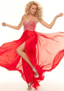 Silver Beaded Red Long A-Line Chiffon Prom Evening Dresses (ED3042) pictures & photos