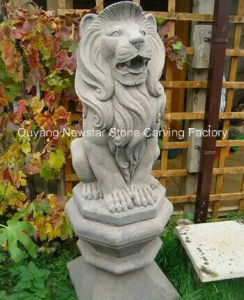 Hand Made Natural Granite Lion Animal Sculpture for Home Decoration pictures & photos
