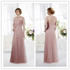 Sheath Jewel Floor-Length Long Sleeves Chiffon Mother of The Bride Dresses 2014