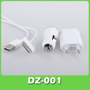 3 in 1 USB Car Charger +Wall Charger with EU Plug (DZ-001)