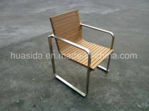 Square Legs Outdoor Chair with Stainless Steel Poly Wood pictures & photos