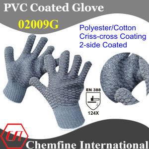 10g Gray Polyester/Cotton Knitted Glove with 2-Side Black PVC Criss-Cross Coating/ En388: 124X pictures & photos