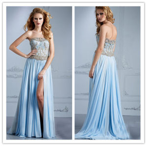 2014 Sexy A Line Strapless High Slit Beaded Ruffle Floor Length Chiffon Evening Dresses From Dubai (HS076) pictures & photos