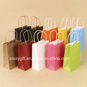 Wholesale Cheap Recycle Printing Kraft Paper Carrier Bags with Twisted Handle pictures & photos
