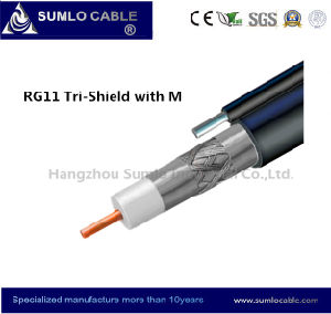 Rg11 Cable Tri- Shield, PVC/PE Jacket, Galvanized Steel Wire Messenger for Aerial Distribution Line in CATV / CCTV pictures & photos