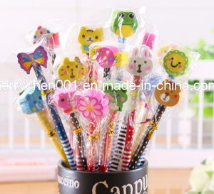 Hb Wooden Pencil with Animal Shaped Eraser, Sky-100 pictures & photos