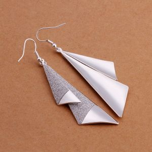 Western Style Fashion 925 Stealing Steel Earring with Two Piece Geometry Shape Pendant pictures & photos