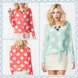 2014 Large DOT Tie Front Lady Chiffon Blouse for Lady (HSM573)