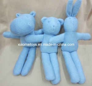 Hand Knitting Blue Yarn Toys