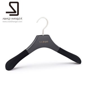 Huaqi Black Wooden Hanger, Clothes Hanger, Velvet Hanger pictures & photos