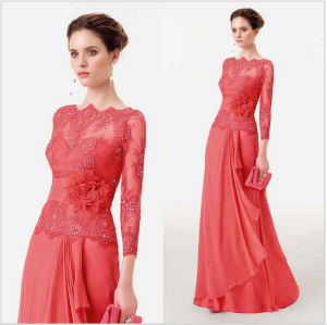 Coral Lace Bridesmaid Dresses A-Line Chiffon Mother of The Bridal Formal Evening Dress M224 pictures & photos