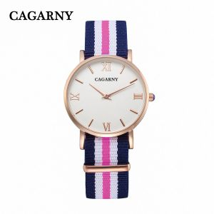 Cagarny Fabric Wrist Watch with IP Gold Plated 4roman Words pictures & photos