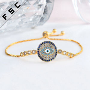 Wholesale Gold Jewelry Rhinestone Evil Eye Adjustable Magnetic Copper Bracelet pictures & photos