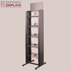 Five-Layers Metal Floor Standing Food and Snack Display with Logo Board pictures & photos