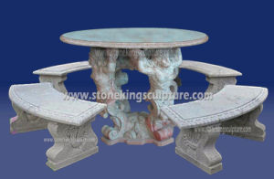 Outdoor Stone Table and Benches for Garden pictures & photos