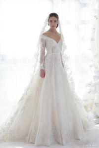2015 Wedding Gown Vestido Longo Sleeves Lace Wedding Bridal Gown W14924