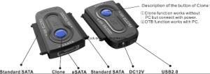 USB2.0 & Esata to 2 X SATA Adapter (HE-2022B)