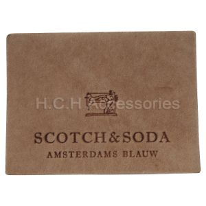 Stone wash real leather label for jeans