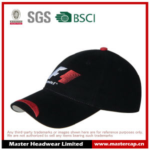 Adult Size Black Cotton Flat Embroidery Baseball Racing Cap for Men pictures & photos