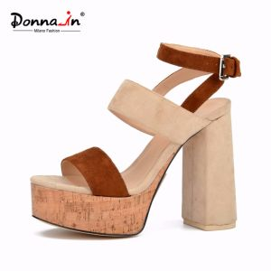 Lady Casual Microfiber Cork Platform Women High Heels Sandals Shoes