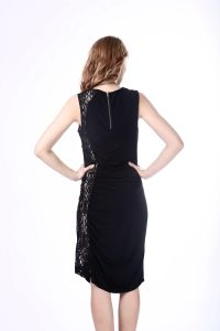 New Fashion Summer Sexy Black Lace One Piece Slim Fit Dress Zipper Round Neck Ladies Western Dress Designs pictures & photos