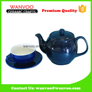 Eco-Friendly Customized Blue Ceramic Teapot with Cup and Saucer pictures & photos