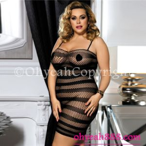 Plus Size Black Bodycon Mesh Lingerie for Fat Women Honey Moon Sexy Bodystocking pictures & photos