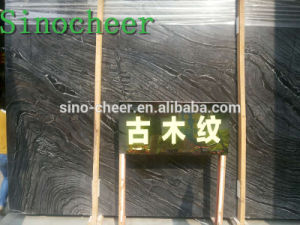 Ancient Wood-Grain Marble Stone Black Slab Tile for Sale pictures & photos