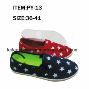 OEM Women Flat Leisure Footwear Injection Canvas Shoes (FFPY0415-09) pictures & photos
