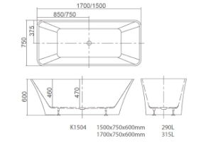 Korra Simple Freestanding Bathtub with 19 Years OEM & ODM Experience K1504 pictures & photos