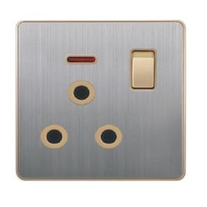 British Standard Stainless 15A Round-Pinned Switched Socket with Neon