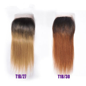 Virgin Hair Ombre #1b/30 Straight Lace Closure pictures & photos