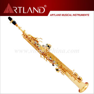 Bb Key Golden Lacquer Finish Professional Soprano Saxophone (ASS5506) pictures & photos