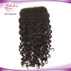 "Natural Black 4"" X 4"" Mogolian Human Hair Curly Lace Closure pictures & photos"